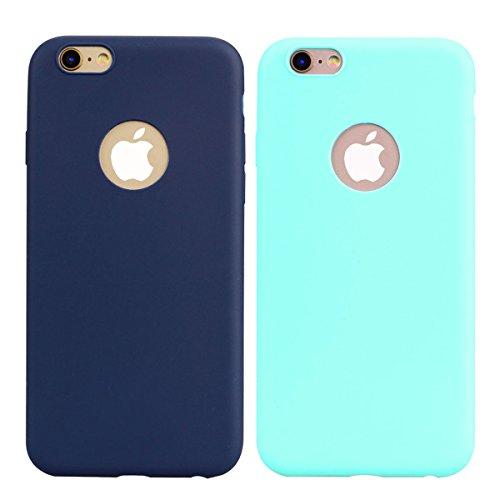 2x Cover iPhone 6 Plus / 6S Plus,ZHXMALL Custodia iPhone 6 Plus / 6S Plus Silicone Colore Candy TPU Flessibile Morbido Ultra Sottile Leggero Gel Gomma Cassa Protettiva Anti-urto Anti-Graffio Cellulari Mint Verde + Blu
