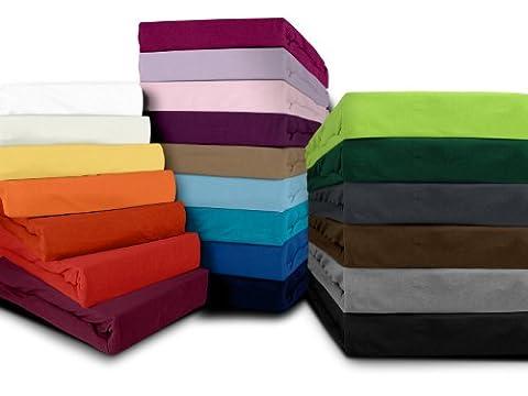 klassisches Jersey Spannbetttuch - erhältlich in 22 modernen Farben und 6 verschiedenen Größen - 100% Baumwolle, 200 x 220 cm, hellbraun