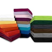 Sábana bajera Fijación–Disponible en 22Colores modernos y 6diferentes tamaños–100% algodón, antracita, 180-200 x 200 cm