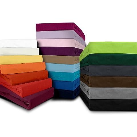 Sábana bajera Fijación–Disponible en 22Colores modernos y 6diferentes tamaños–100% algodón, verde oscuro, 140-160 x 200 cm