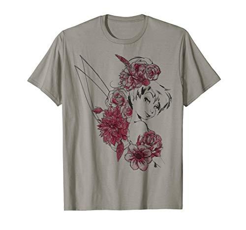 Disney Peter Pan Tinkerbell Flowers Floral Outline T-Shirt - Shirt Peter Pan Disney