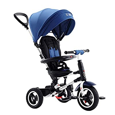 TRICYLE Foldable Kids Trike Tricycle 4 in 1 Trike 3 Wheel Baby Bike Toddler Bike Baby Walker with Push Handle and can Reclining,Blue