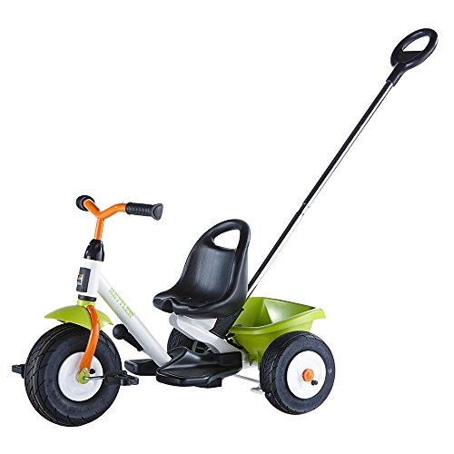 Kettler Startrike Air - das coole Dreirad mit Schiebestange und Luftbereifung - Kinderdreirad für Kinder ab 2 Jahren - stabiles Kinderfahrzeug inkl. kippbarer Sandschale - grün, orange & weiß