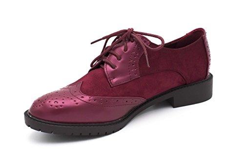 Matière Femme Oui Richelieus Style Derby Cuir Bordeaux Chaussure Hx4dFqd