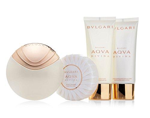 Bulgari Aqua Divina Set contains Eau de Toilette Spray 65 ml/Soap 150 g/Shower Gel 100 ml and Body Lotion 100 ml