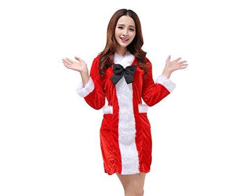 ShangRui Damen Bowknot Windbreaker, DS Nachtklub-Kleidung, festliche Kostüme, nettes Mädchen-Weihnachtsset (Rotes (Billig Kostüme Larp)