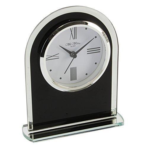 Widdop Bingham - Orologio da scrivania in vetro, al quarzo, design ad arco, colore: Nero/Trasparente