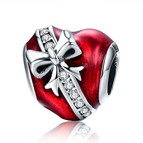 Nœud en Argent Sterling 925Perle Charms Cœur en émail Rouge pour Femme Fille Compatible avec Bracelets européens de Noël Bijoux
