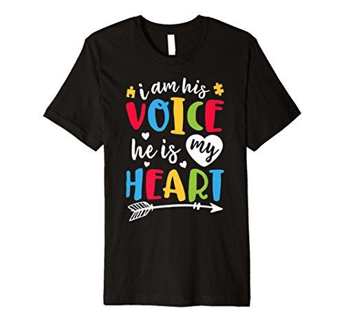 Ich bin seine Stimme ER IST MY HEART T Shirt Autism Awareness Stars