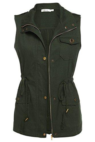 Meaneor Damen Leicht Weste Ärmellos Jacke Mantel Trenchcoat Übergangsjacke mit Tasche Funktionsjacke Atmungsaktiv Outdoor Outwear Armeegrün