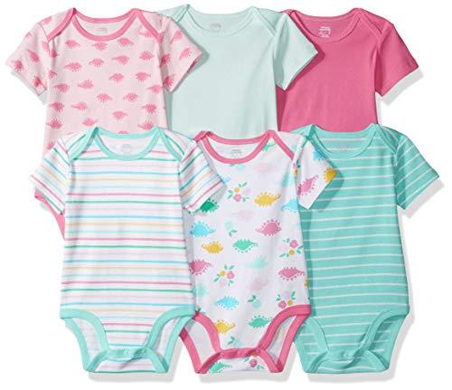 Amazon Essentials Body a maniche corte,  Confezione da 6, Girl Dino, Newborn