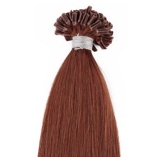 Beauty7 100S 100 STRANDS/50S 50 STRANDS Pre Bonded Nail U Tip 100 % Remy Human Straight Hair Extensions Dark Auburn(#33) 18'' 20'' 22'' 24'' (18'' 50g 1g/strand)