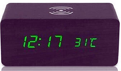 AIZIJI Creative Wireless Charger Voice Control LED Holz- Uhr Kreative stille Wecker Wecker Wecker Wecker Wecker aus Holz
