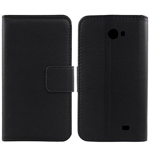Gukas Design Echt Leder Tasche Für Kazam Trooper 2 5.0 Hülle Handy Flip Brieftasche mit Kartenfächer Schutz Protektiv Genuine Premium Case Cover Etui Skin Shell (Schwarz)