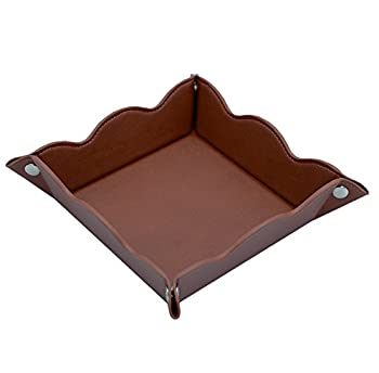 Lisrsc Travel Valet Jewelry Organiser Tray For Men,leather Portable Collapsible Wallet Phone Desk Storage Tray (Dark Brown) 0