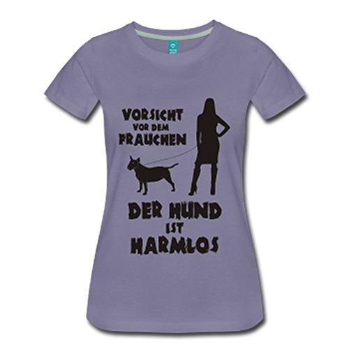 Terrier: Vorsicht vor dem Frauchen – der HUND ist HARMLOS Grau-Violett