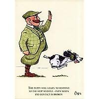 Cocker spaniel dog greeting card. Gundog training with Mr Perks by Bryn Parry