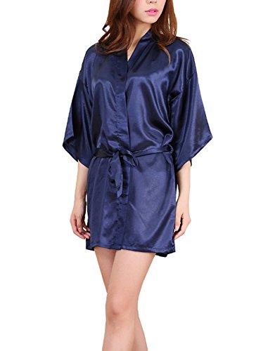 ECHERY Frauen Kimono Satin Seide Reine Farbe Bademantel Roben Kleid Kurze Nachtwäsche Dunkel Blau Größe XL (Seiden-robe Kurze)