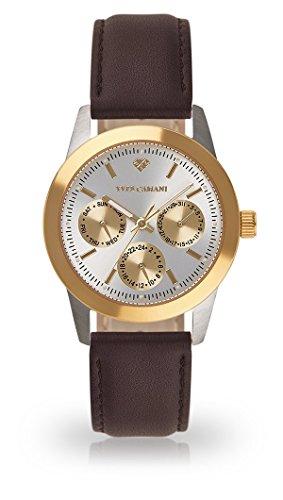 Yves Camani madelaine Montre bracelet Femme analogique quartz Boîtier Acier Inoxydable d'or argent Graduation Cadran yc1100-A de 750(en cuir, marron)