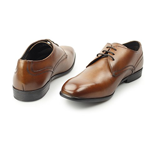 Base London Mens Page Smooth Leather Smart Formal Derby Shoes Tan Marron