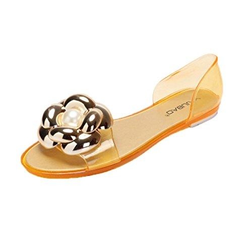 Vovotrade Été Sandales Femme Poisson Bouche Plastique Plat Sandales Occasionnels Gelée Chaussures de Plage Original Or