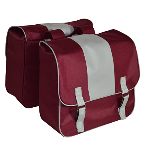 C-BAGS ELEGANCE double CLASSIC Gepäckträger Fahrrad Tasche verschiedene Muster Burgundy