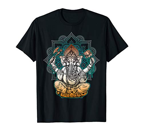 Ganesha T-Shirt, Hinduistisches Gott T-Shirt - Mandala