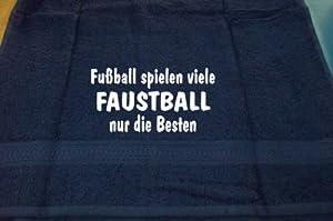 Fußball spielen viele, Faustball nur die Besten; Badetuch Sport, dunkelblau