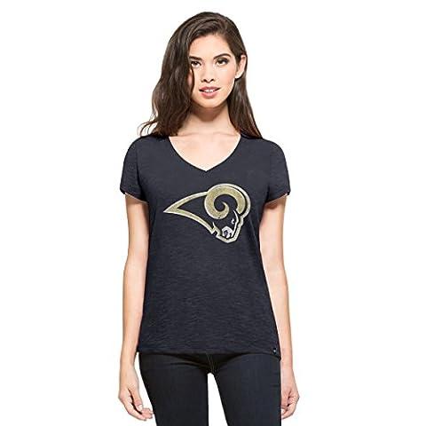 NFL Los Angeles Rams Women's 47 V-Neck Scrum Tee, Large,