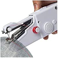 Candelwood Mini Handy Stitch Portable Sewing Machine Electric Handheld for Home Tailoring use (White, Stapler)