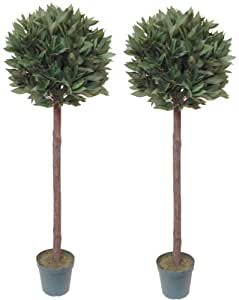 Artificial Bay Trees 4ft/120cm - Best Quality Natural Look (Set of 2)