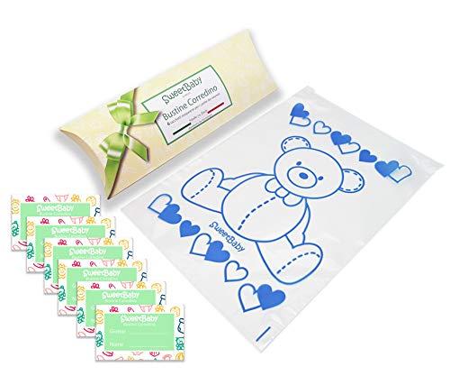 SweetBaby 6 Bustine per il Corredino del Neonato – Sacchetti, Buste Ospedale 6pz Trasparenti Chiusura con Cursore Ermetico, per Nascita, PortaCorredino, Idea Regalo (Blu)