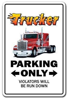 HSSS Neuheit Schild Geschenk Trucker Parking Street Semi Truck Driver 18 Geschenk LKW Dump Tanker Anhänger Yard Deko Aluminium Metallschild