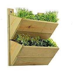 Macetero de 2 pisos, estante de madera premium para colgar macetas, invernadero colgante de gran calidad. Se puede utilizar para poner hierbas o plantas en tu cocina o en cualquier lugar de tu casa. Ideal como regalo.