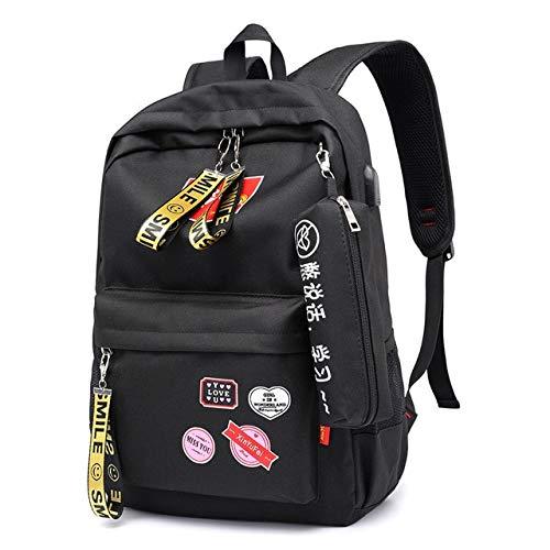 QWKZH Rucksäcke Fashion Style Canvas Women Backpack for Girl Teens Printing School Bag USB Charging Large Back Pack Teenager Schoolbag Cute,Black-p39c (Teen Cute Girl)