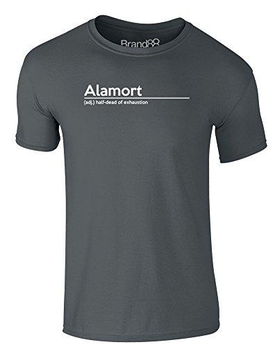 Brand88 - Alamort Definition, Erwachsene Gedrucktes T-Shirt Dunkelgrau/Weiß