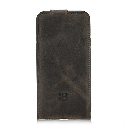 Burkley Apple iPhone X Leder Hülle | Handyhülle | Ledertasche | Handytasche | Schutzhülle | Flip Cover | Case | Etui | Bruchfester Innenschale | Kartenfach (Schwarz) Dunkel Braun