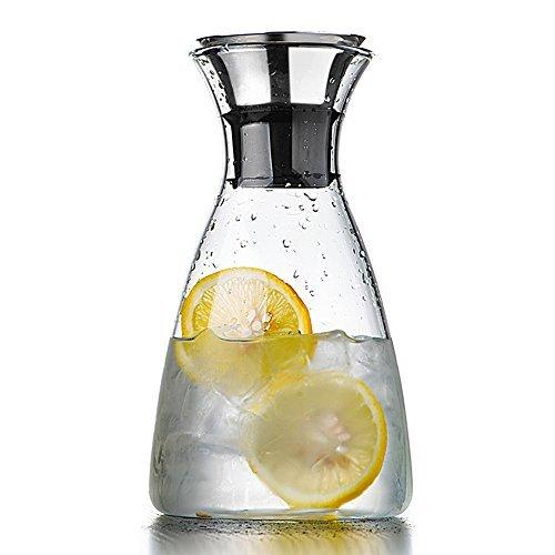 Homestia Glas Tropffreie Karaffe mit Edelstahl-Silikon-Flip-Top-Deckel, 1.5L