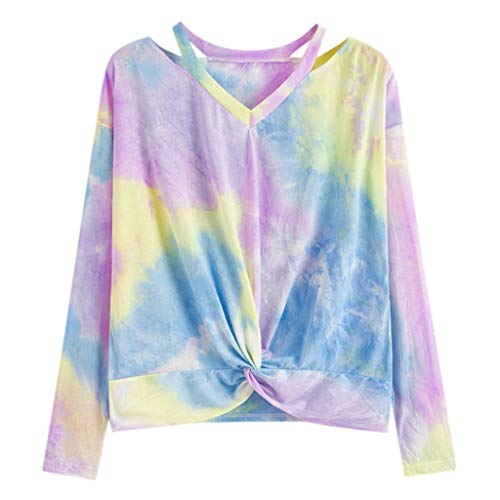 Oliviavane Elegant Farbverlauf Oberteile Sexy Schulterfreier Herbsthemd Frauen Langarm V-Ausschnitt Top T-Shirt Kontrast Farbe Gedruckt Gefärbter Pullover -