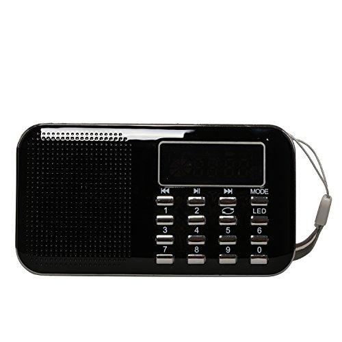 Timorn Tragbare Digital Radio MP3 Musik Spieler Medien Lautsprecher Unterstützungs TF Karte / USB Disk mit LED Screen Display und Nottaschenlampe Funktion (Y896) (Schwarz)