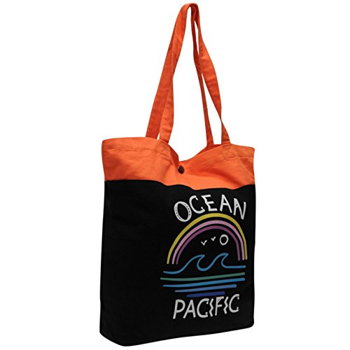 ocean-pacific-wave-stampa-borsa-da-donna-nero-corallo-da-donna-shopper-borsa-black-coral