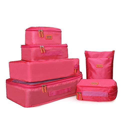 Joyoldelf Ensemble de 7 Organisateurs de Voyage Organisateur Valise Sacs de Rangement Cube, Organisateur de Bagage de Sac Voyage pour des Vêtements (Rose)