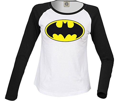 DC Comics Donna Batman Logo Camicia a maniche lunghe da baseball XX-Large Bianco nero