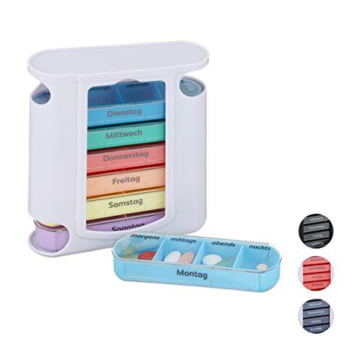 Relaxdays Pillendose 7 Tage, wöchentliche Tablettenbox, 4 Fächer, morgens, mittags, abends, nachts, Pillenbox, weiß/bunt