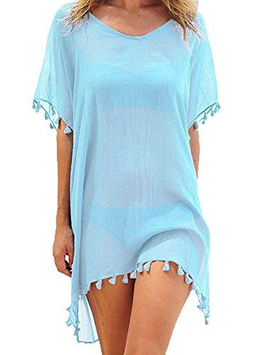 Damen Strandkleid Sommerkleid Bikini Cover Up Sommer Bademode Longshirt Tunika Strandponcho (Hellblau)