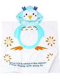 5170710f00869 DDOQ Dessin animé Enfants Pingouin Imprimé Coton Serviette À Capuchon  Peignoir Couverture Plage Serviette De Bain