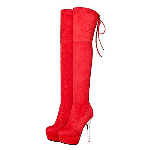 ENMAYER Frauen Nubuck Leder High Heels Over-the-Knie Slip-on Plattform Solid Winter Stiefel Rot(Stiletto 13.5cm)