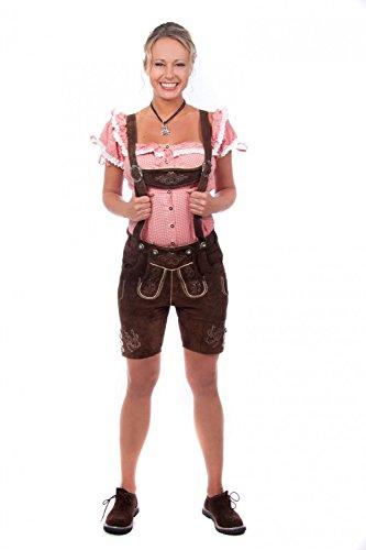 Kurze Damen Trachten Lederhose braun aus feinstem Rindsveloursleder , Dunkelbraun, 34