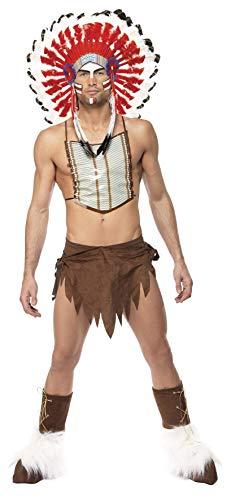 Village People Indianer Kostüm Braun Kopfschmuck Lendenschurz Brustplatte und Überstiefel, One - Kostüm Brustplatte