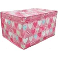 2 x Jumbo Large Toy Boxes Book Bedding Laundry Kids Childrens Storage Chest (Pink Hearts)